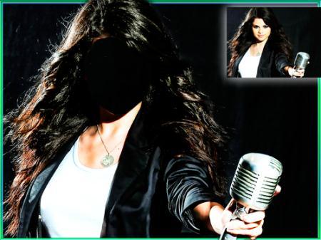 Девушка с микрофоном на сцене