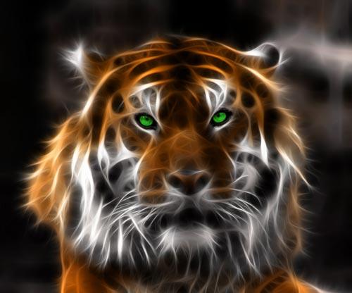 Фрактальное изображение тигра
